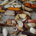 Salade de carottes dragon, choux-rave, rabioles et patates grillés sur pourpier