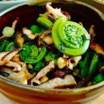 Salade tiède de têtes de violon, asperges et shiitakes