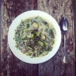 Restant de riz, tempeh au curcuma, fèves germées, asperges, ortie et ciboulette
