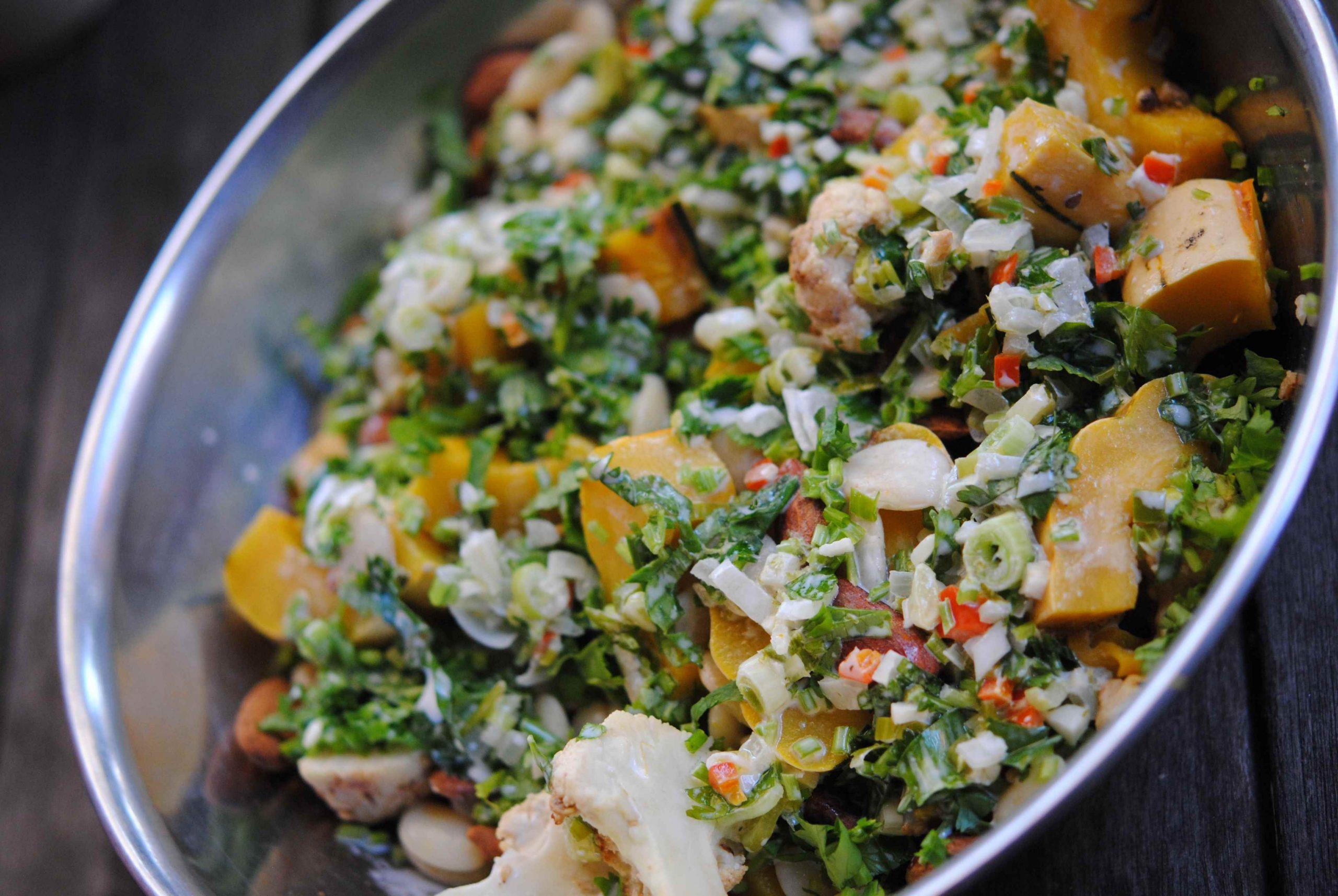 Salade de haricots blancs courge délicata vinaigrette au lait de coco