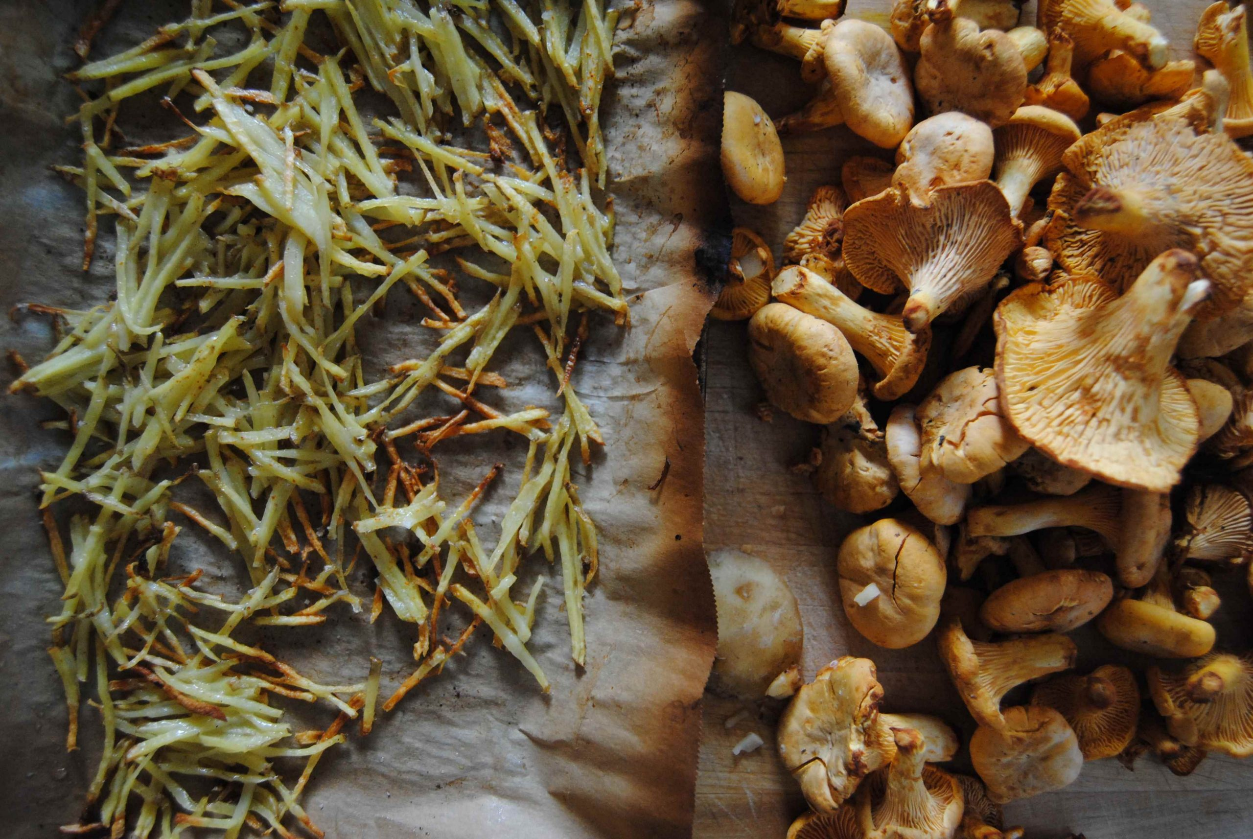 Tartare de girolles et juliennes de frites croustillantes